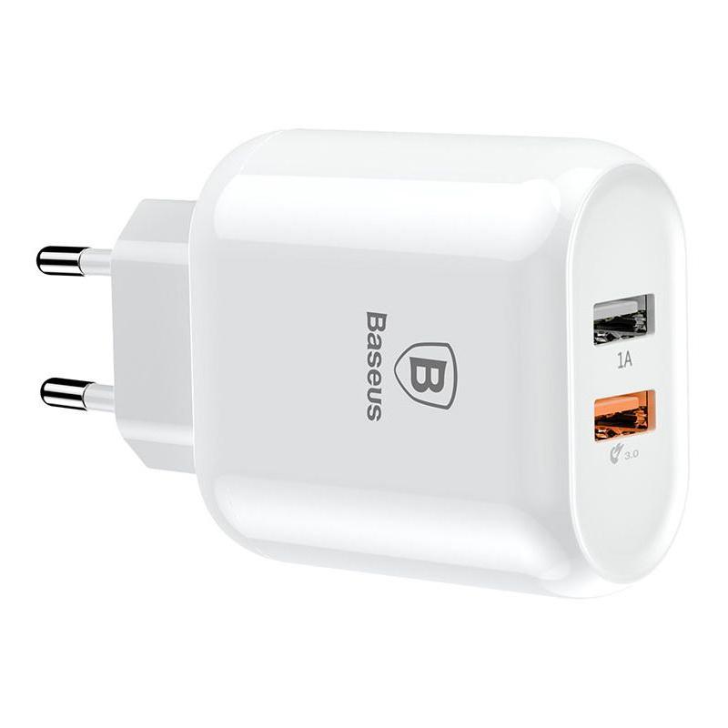 Сетевое зарядное устройство Baseus Bojure 2-USB, QC, 23W белый