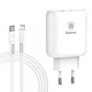 Сетевое зарядное устройство Baseus Bojure Type-C, PD+U, QC, 32W белое с кабелем Type-C Lightning в комплекте