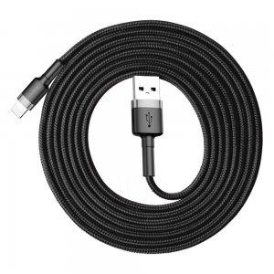 Lightning кабель Baseus Cafule серый+черный 1.5A 2м