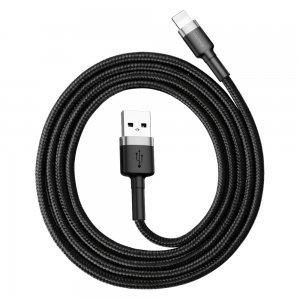 Lightning кабель Baseus Cafule, 1м, 2.4A, серый + черный