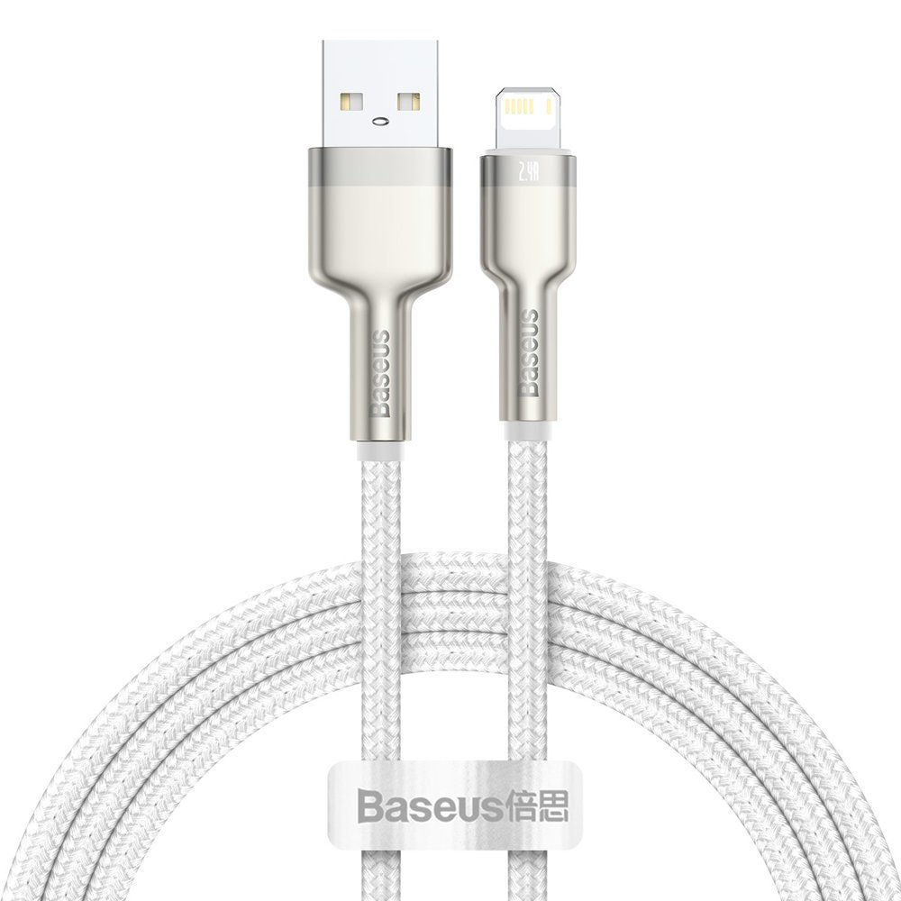 Lightning кабель Baseus Cafule Series Metal Data Cable 2.4A 1m (CALJK-A02) белый