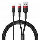 Кабель Baseus Cafule USB+Type-C 2-in-1 PD Cable 1.2m черный + красный
