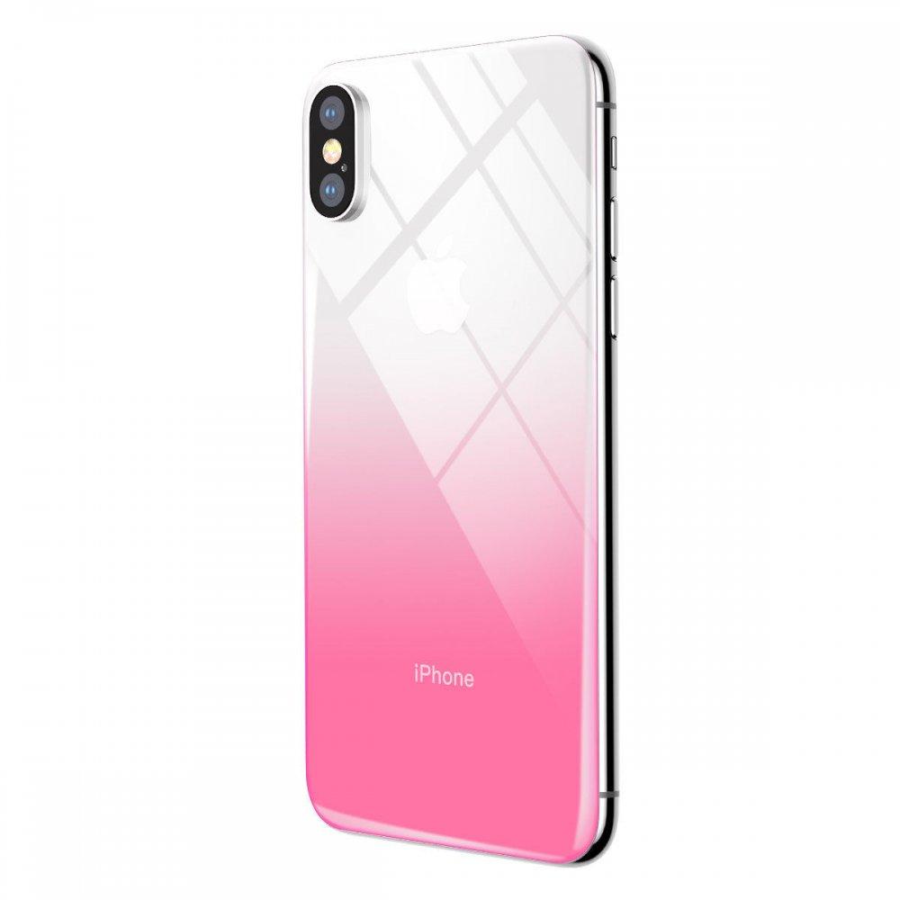 Защитное стекло Baseus Coloring розовое для iPhone X/XS