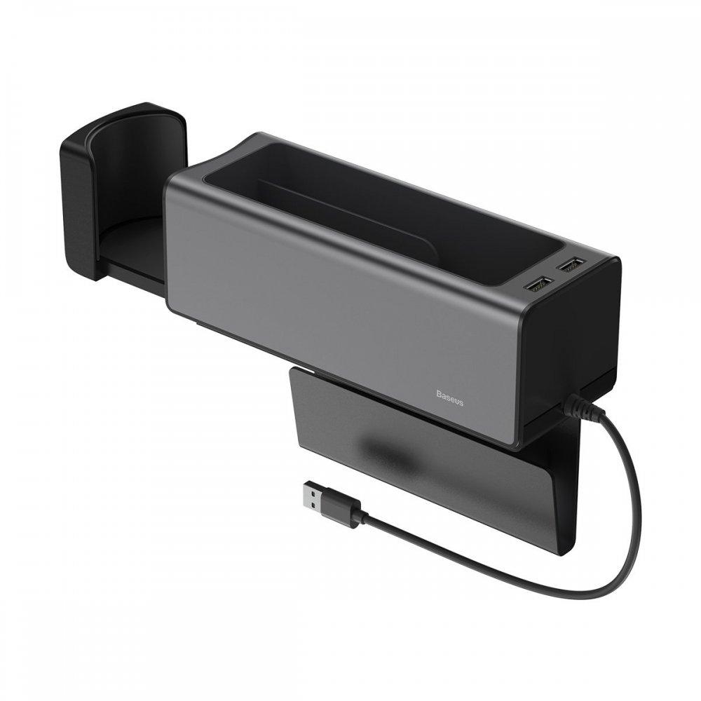 Автомобильный органайзер Baseus Deluxe Metal Armrest Console Organizer черный (CRCWH-A01)