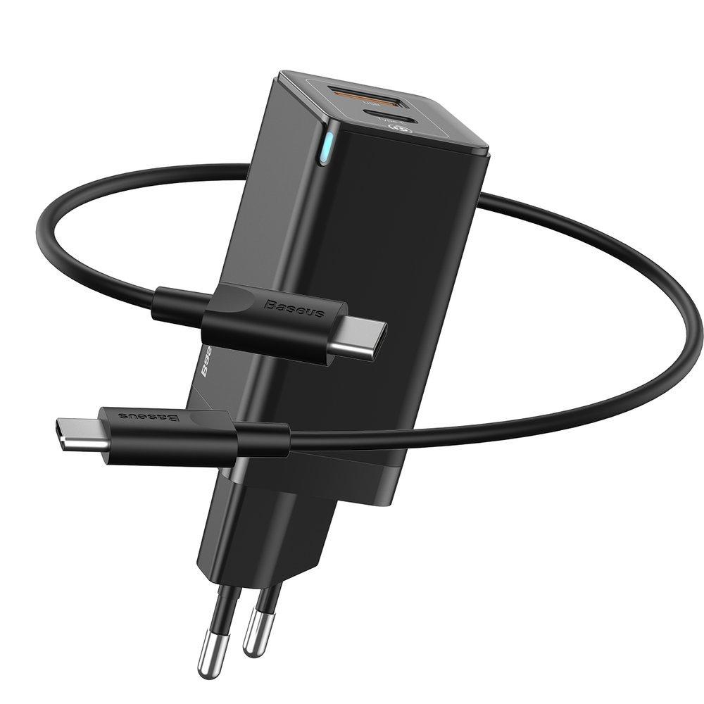 Сетевое ЗУ Baseus GaN Mini Quick Charger C+U 45W черное + кабель Type-C to Type-C 60W (20V/3A/1m) в комплекте