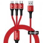 Кабель Baseus halo data 3-in-1 USB For M+L+T 3.5A 1.2m красный