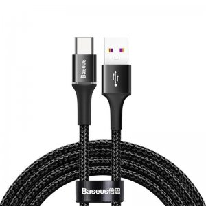 Кабель Baseus halo data cable HW flash charge cable USB For Type-C 40W 2m черный