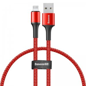 Lightning кабель Baseus Halo Data Cable USB For iP 2.4A 0.25м красный