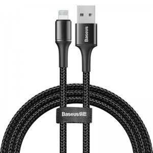 Lightning кабель Baseus Halo Data Cable USB 2.4A 1m чёрный
