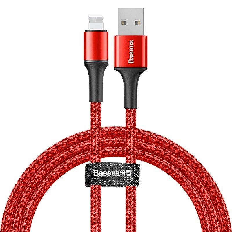 Lightning кабель Baseus halo data cable USB 2.4A 1m красный