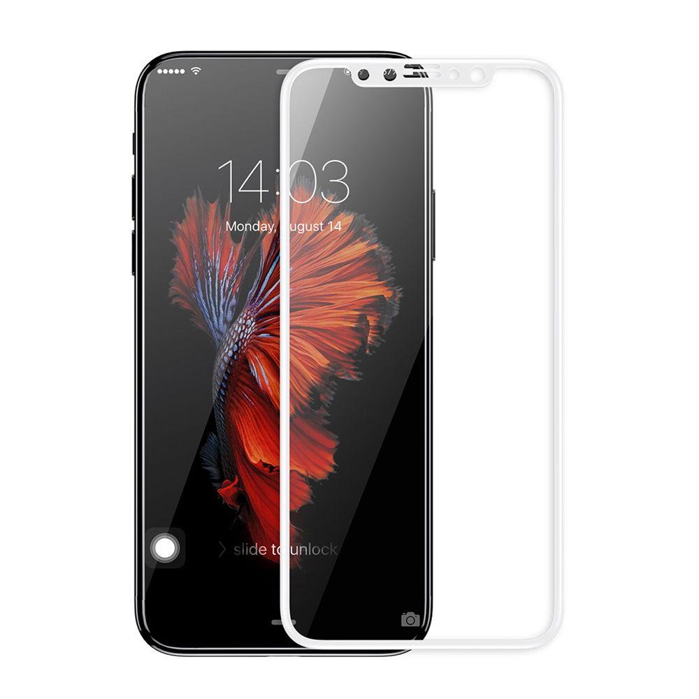 Защитное стекло Baseus 0.2mm Silk-screen глянцевое, белое для iPhone X/XS/11 Pro