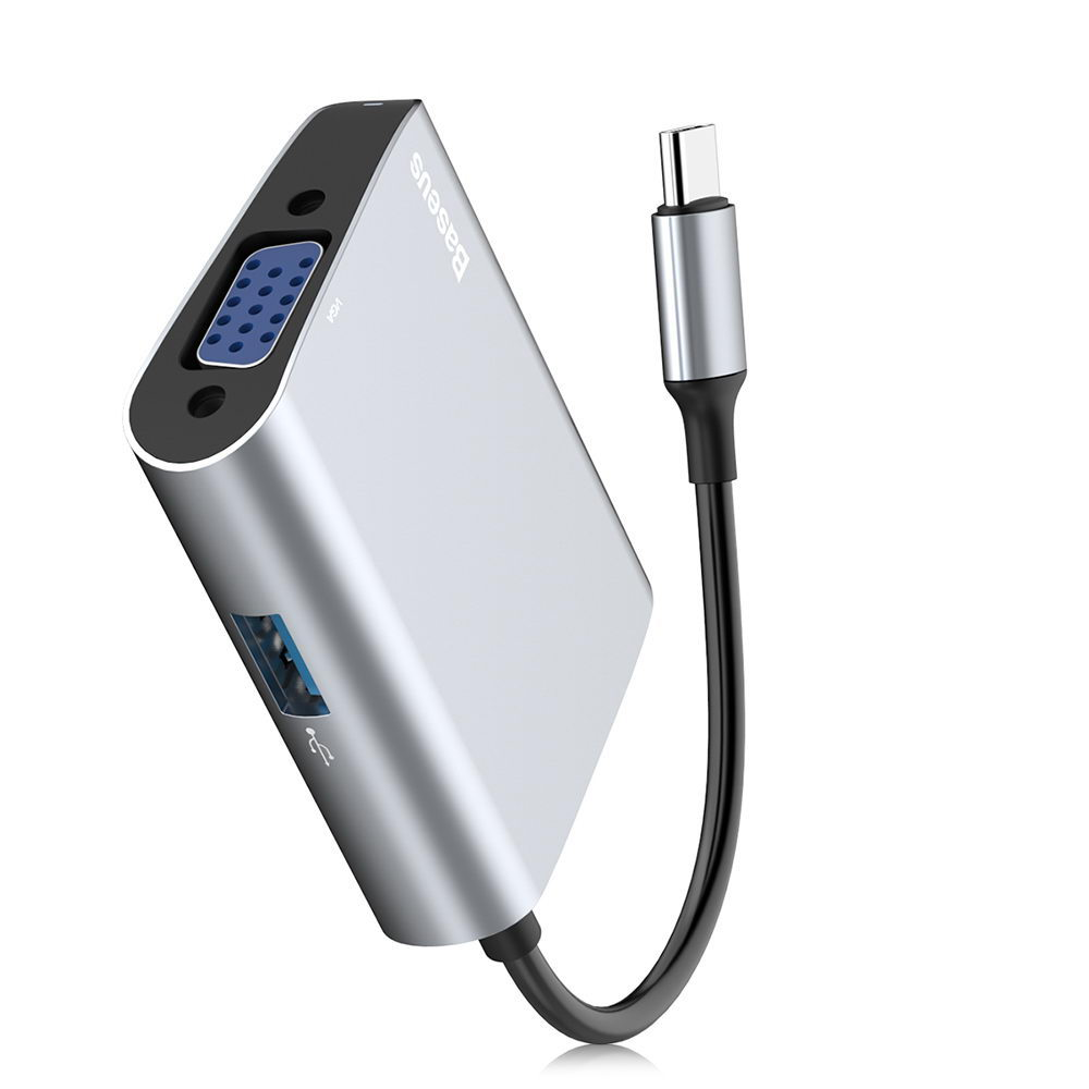 Переходник Baseus Enjoyment с Type-C на VGA+ USB 3.0 HUB серый