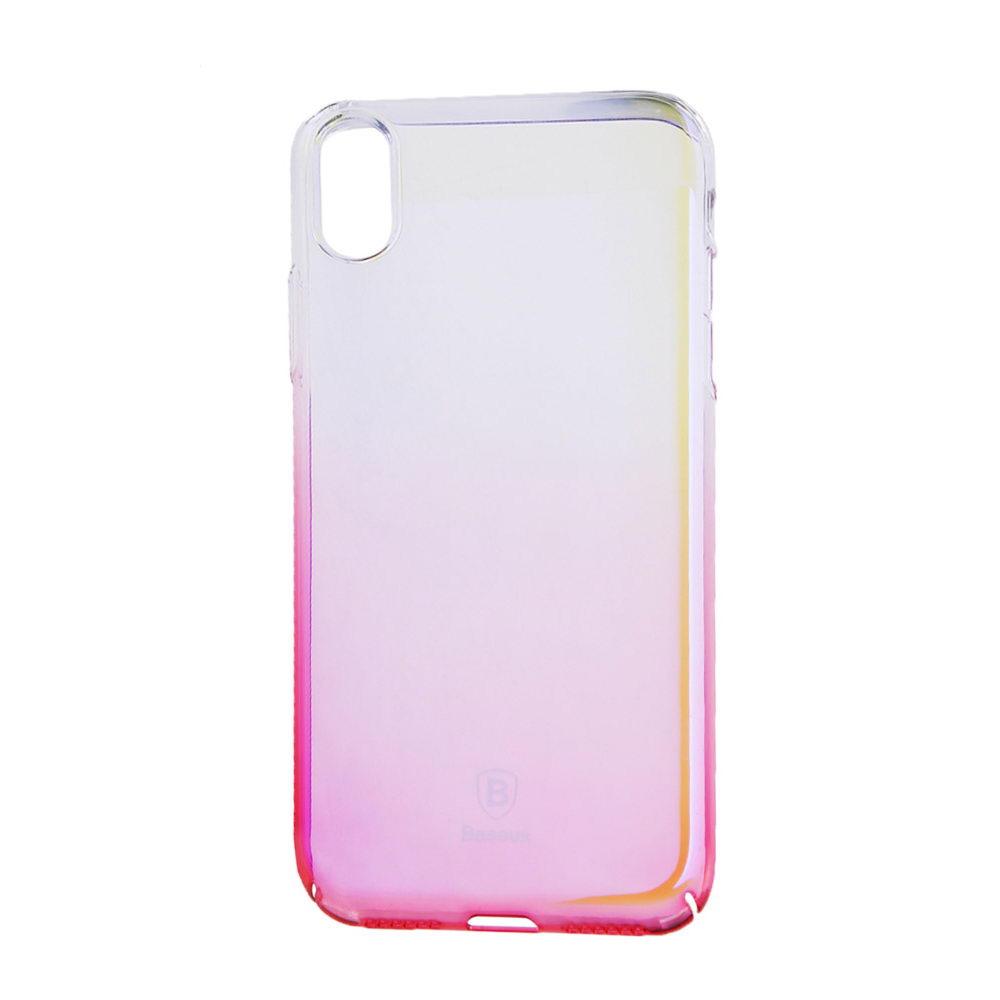 Полупрозрачный чехол Baseus Glaze розовый для iPhone X/XS