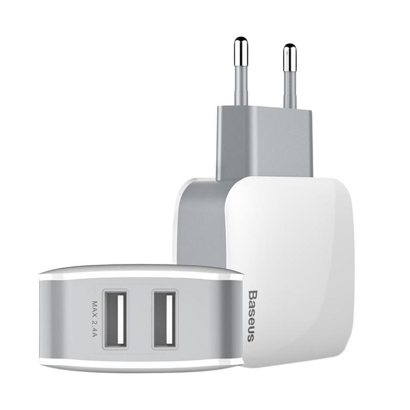 Сетевое зарядное устройство Baseus Letour 2 USB, 2.4 Amp, белое