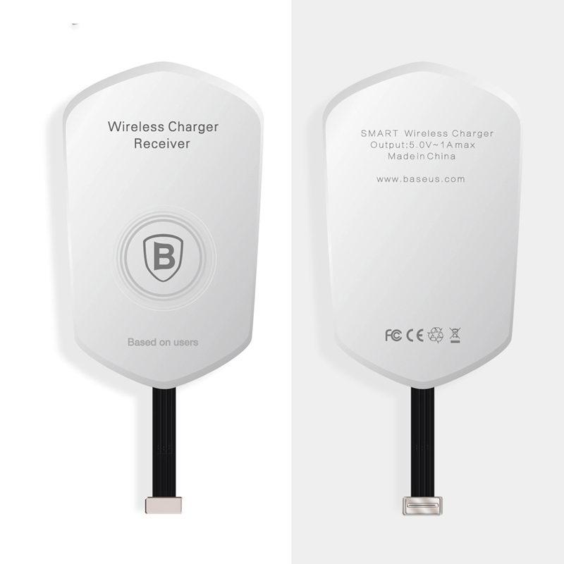 Адаптер для беспроводной зарядки Baseus QI белый для iPhone 5/5S/5C/SE/6/6S/6 Plus/6S Plus/7/7 Plus