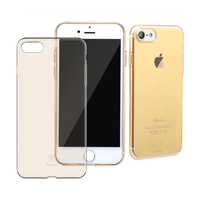 Полупрозрачный чехол Baseus Simple золотой для iPhone 8/7/SE 2020