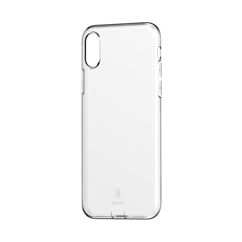 Силиконовый чехол с заглушкой Baseus Simple прозрачный для iPhone X/XS