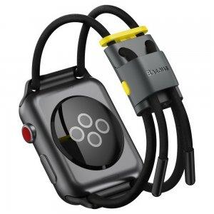 Ремешок Baseus Let's Go Cord Watch Strap серый + желтый для Apple Watch Series 3/4/5/6/SE 38mm/40mm