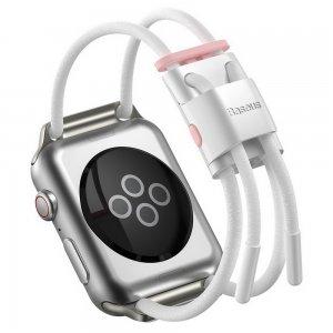 Ремешок Baseus Let's Go Cord Watch Strap белый + розовый для Apple Watch Series 3/4/5/6/SE 42mm/44mm