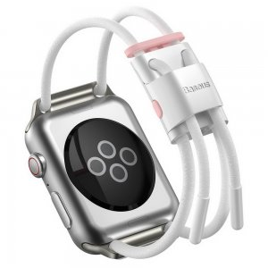 Ремешок Baseus Let's Go Cord Watch Strap белый + розовый для Apple Watch Series 3/4/5/6/SE 38mm/40mm