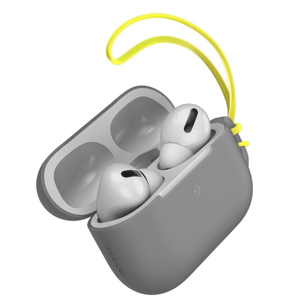Чехол Baseus Let's Go Jelly Lanyard серый для Airpods Pro