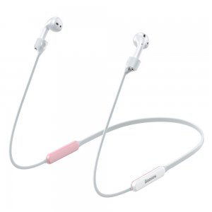 Держатель для наушников Apple AirPods Baseus Let's Go Fluorescent Ring Sports Silicone Lanyard Sleeve розовый + белый
