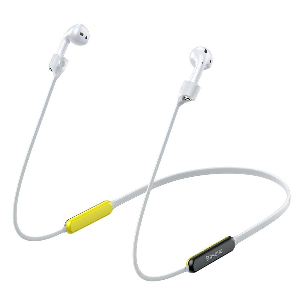 Держатель для наушников Apple AirPods Baseus Let's Go Fluorescent Ring Sports Silicone Lanyard Sleeve желтый + серый