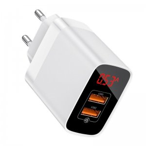 Сетевое зарядное устройство Baseus Mirror Lake Dual QC Digital Display quick Charger A+A белое