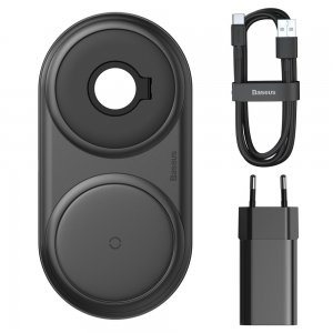 Беспроводное ЗУ Baseus Planet 2in1 Winder+Wireless черное + сетевое ЗУ Wireless Charging Quick Charger 12V/2A + кабель USB Type-C 3A 1m в комплекте