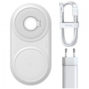 Беспроводное ЗУ Baseus Planet 2in1 Winder+Wireless белое + сетевое ЗУ Wireless Charging Quick Charger 12V/2A + кабель USB Type-C 3A 1m в комплекте