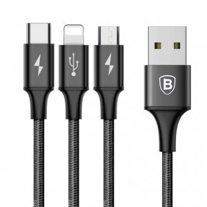 Кабель Baseus Rapid Series 3-in-1 Cable Micro-USB + Lightning +Type-C, 3A, 1.2M черный