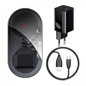 Беспроводное ЗУ Baseus Simple 2in1 Wireless Charger Turbo Edition 24W (с 12V сетевым адаптером) черное