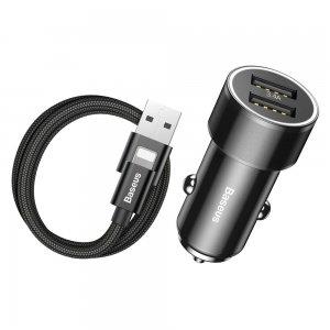 Комплект автомобильное зарядное устройство + кабель lightning Baseus Small Screw 3.4A Dual-USB черный