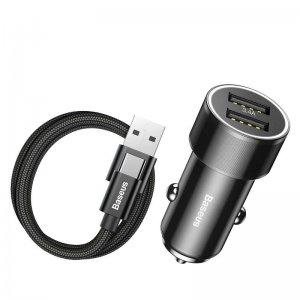 Автомобильное зарядное устройство Baseus Small Screw 3.4A Dual-USB с Type-C кабелем черное