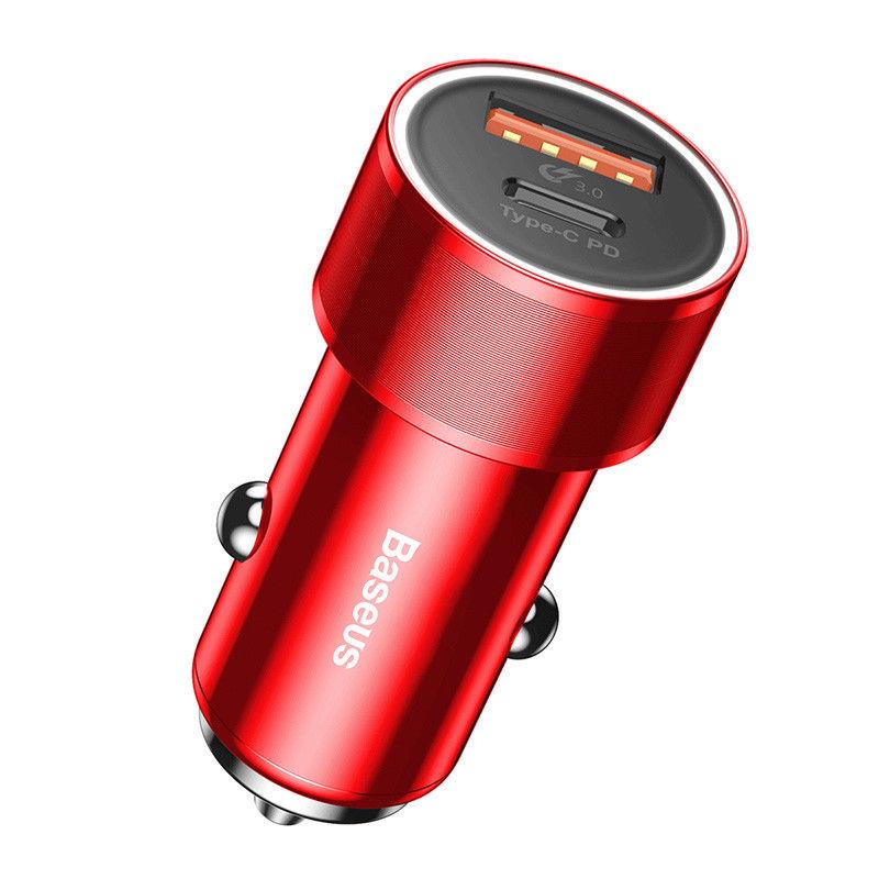 Автомобильное зарядное устройство Baseus Small Screw Type-C PD+USB Quick Charge 36W красное