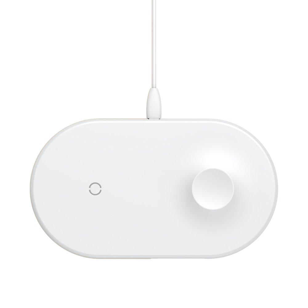 Беспроводное зарядное устройство Baseus Smart 2-в-1 белое