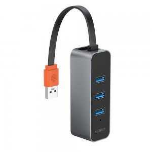 Хаб Baseus Steel Cannon Series USB A to USB3.0*3+RJ45 серый
