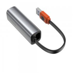 Переходник Baseus Steel Cannon Series USB A & Type-C Bidirectional Gigabit LAN Adapter (CAHUB-AF0G) серый