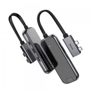 Хаб Baseus Type-C Multifunctional HUB Adapter (2*Type-C to HDMI*2+USB3.0*2+SD/TF*1+PD) серый