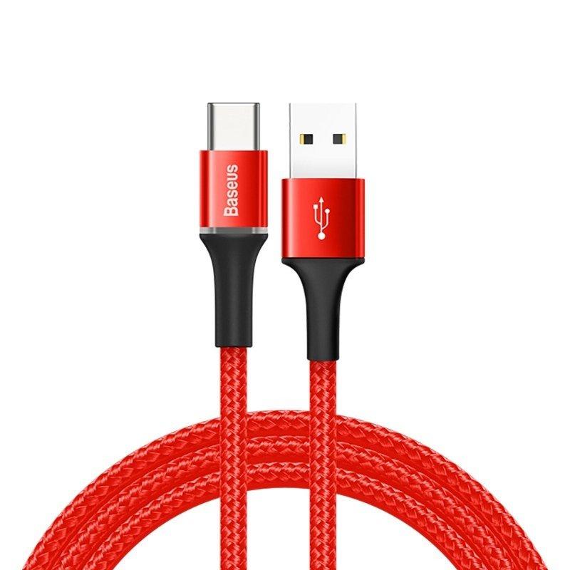 Кабель Baseus Halo Data Cable USB For Type-C 3A 1м красный